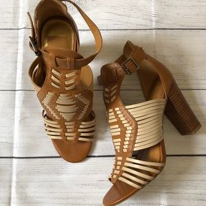 Dolce Vita Strappy Boho Tan Leather Heels